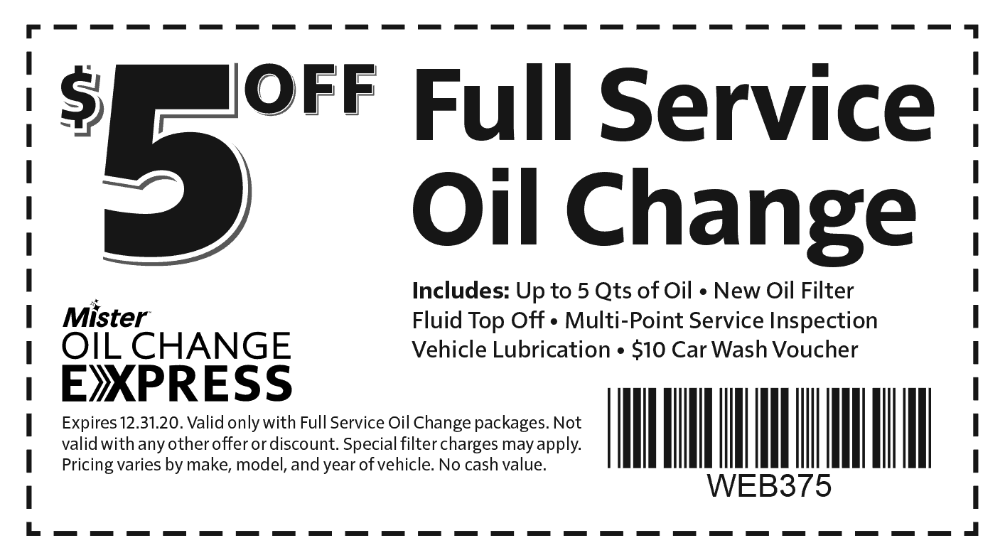 Mister Car Wash Oil Change Coupon
