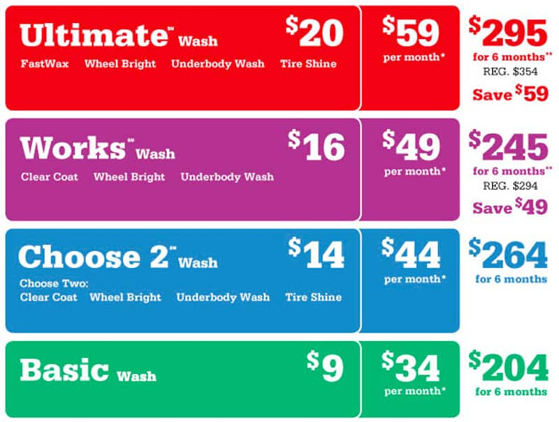 Mike's Carwash Prices
